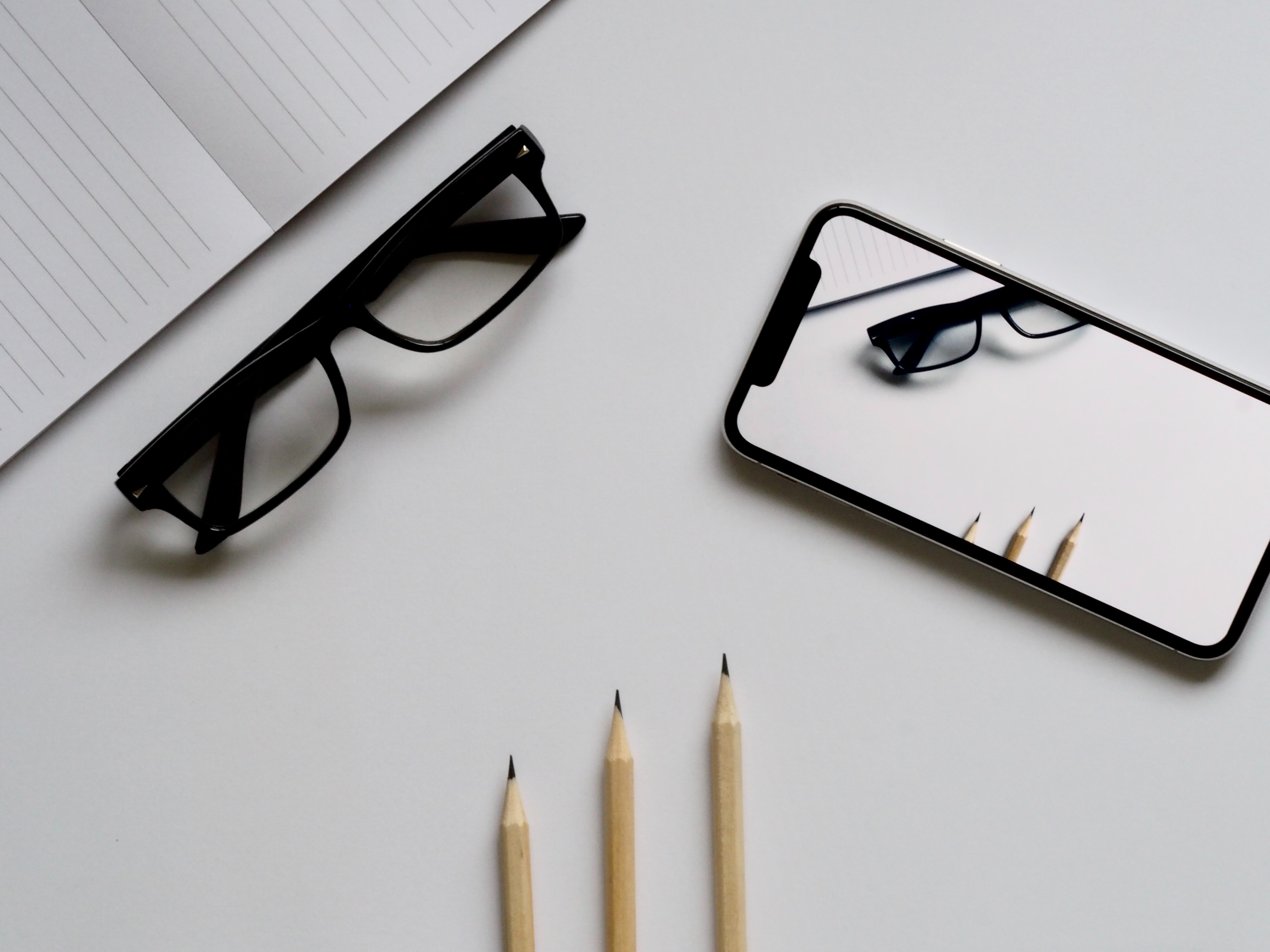 desk with glasses